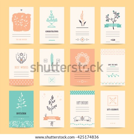 Wedding invitation, birthday party flyer, Valentine's day greeting card, romantic summer banner. Artistic collection of vector templates with hipster hand drawn design elements and thin line symbols. - stock vector
