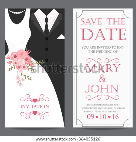 wedding invitation card, bride and groom dress concept. love and valentine day. vector illustration - stock vector