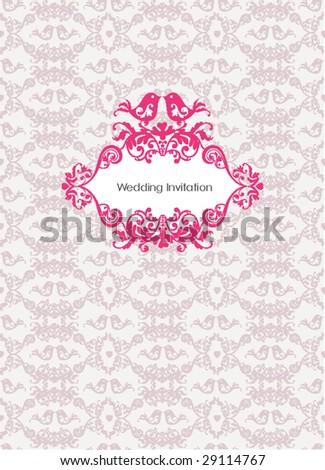 wedding invitation card design - stock vector
