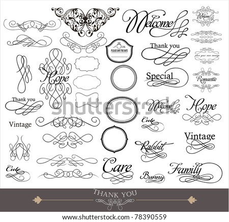 wedding invitation card design- elements collection - stock vector