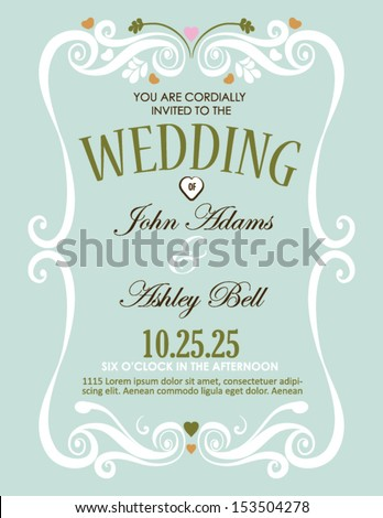 Wedding Invitation Card Design Vector Border Stock Vector