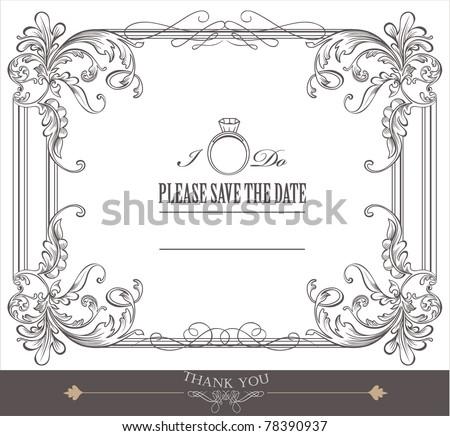 wedding invitation card design- vintage card - stock vector