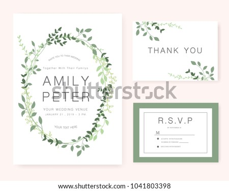 Wedding invitation card green set stock vector 1041803398 shutterstock wedding invitation card green set stopboris Image collections