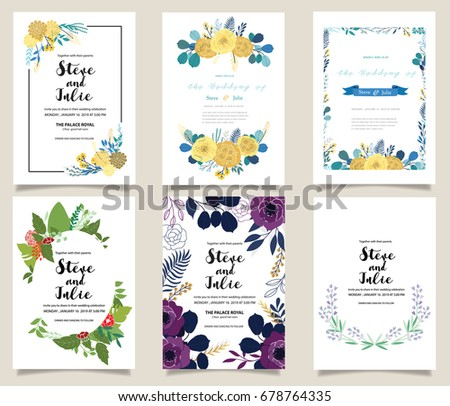Wedding invitation card illustration set flower stock vector wedding invitation card illustration set flower vector hand draw design collection stopboris Images