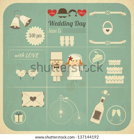 Wedding Invitation Card in Retro Infographics Style. Vintage Design, Square Format, Wedding Set. Vector Illustration. - stock vector