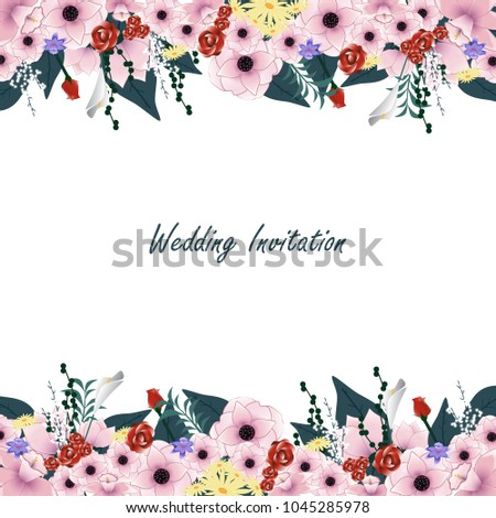 Wedding Invitation Card Isolated On White Stock Vector 1045285978