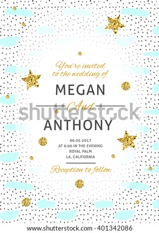 Wedding Rsvp Card Minimalistic Geometric Trendy Stock Vector