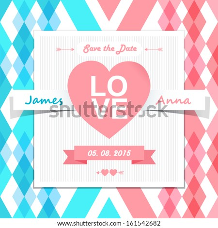 Wedding invitation card. Save the date. Text and color editable. - stock vector
