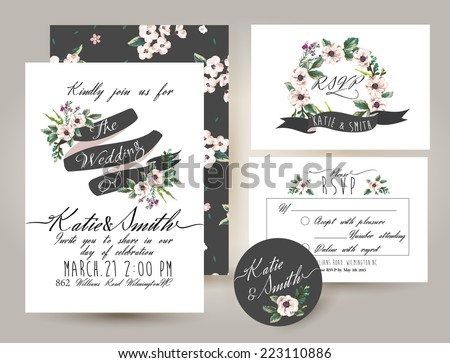 wedding invitation card suite with romantic flower Templates - stock vector