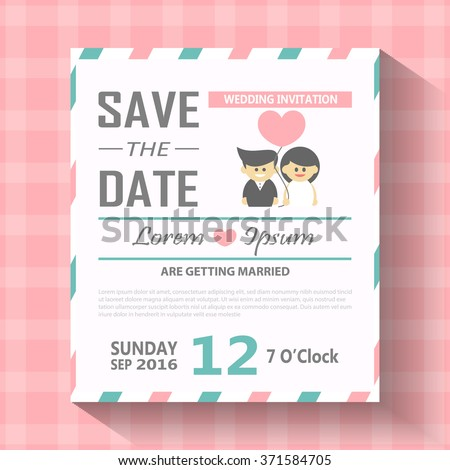 free online wedding save the date templates - wedding invitation card template vector illustration stock