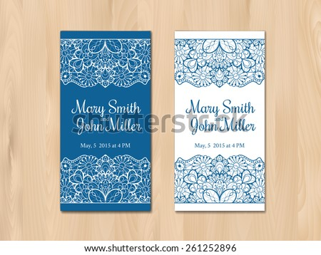Wedding invitation, card template. Vintage lace design. EPS 10 vector. Free fonts used: Rochester, Crimson - stock vector