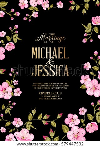Wedding Invitation Card Template Black Background Stock