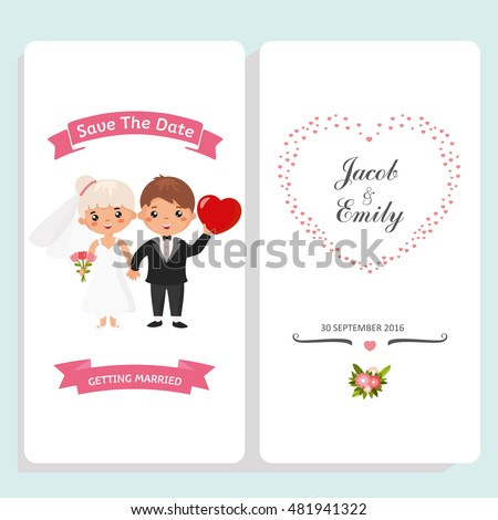wedding invitation card template funny couple stock vector royalty