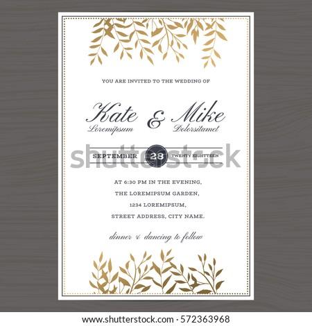 Wedding invitation card template golden color stock vector wedding invitation card template with golden color flower floral background vector illustration stopboris Images