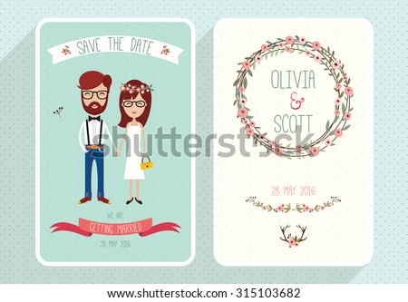 Wedding invitation card template with hipsters Collection of two wedding cards  - stock vector