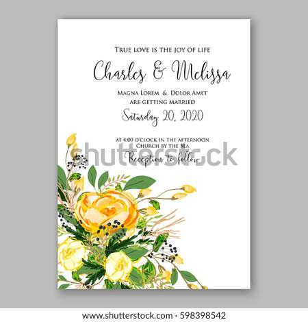 Wedding Invitation Card Template Yellow Rose Stock Vector 598398542 ...