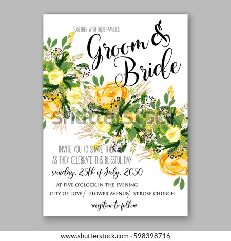 Wedding Invitation Card Template Yellow Rose Floral Printable Gold Bridal Shower Suite Boho Flower Wreath