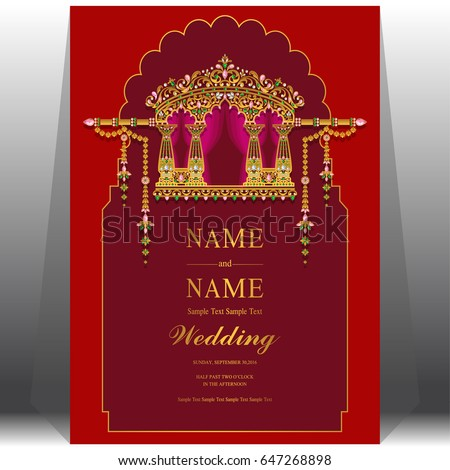 Wedding invitation card templates gold indian stock vector wedding invitation card templates with gold indian wedding doli patterned and crystals on paper color stopboris Image collections