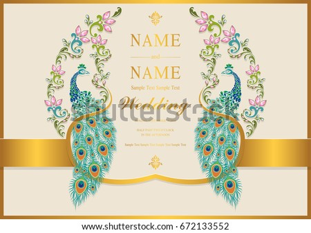 Wedding invitation card templates gold peacock stock vector royalty wedding invitation card templates with gold peacock patterned and crystals on paper color stopboris Images