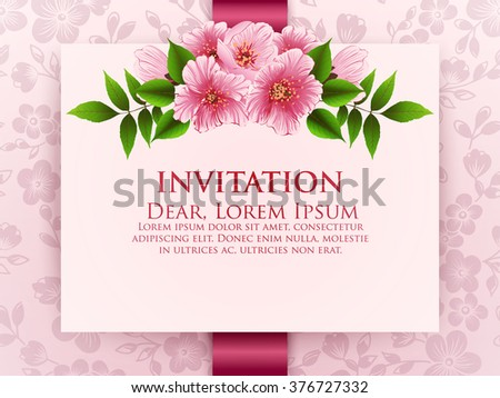 Wedding invitation card. Vector invitation card with floral background and elegant frame with text decorated with flower composition.  - stock vector
