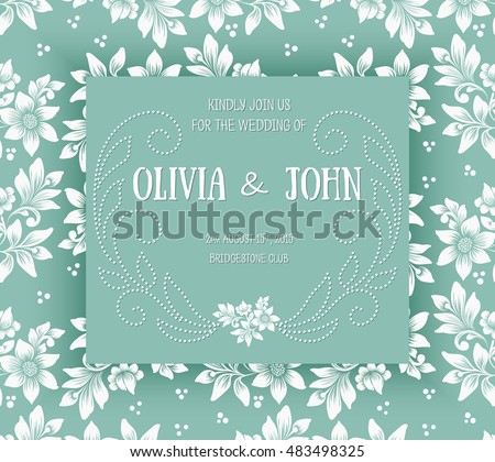 Wedding invitation card vector invitation card stock vector wedding invitation card vector invitation card with floral background and elegant frame with text decorated stopboris Choice Image