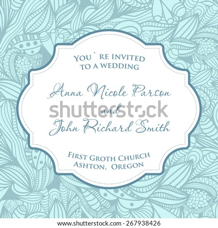 Wedding invitation card with blue seamless pattern. - stock vector