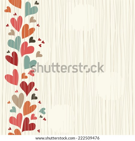Wedding invitation card with colorful doodle hearts. Seamless background - stock vector