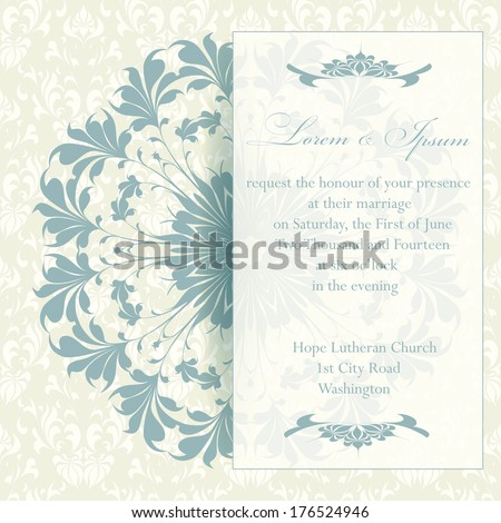Wedding invitation card with floral elements. Vintage background. Vector illustration. Ornamental circle.