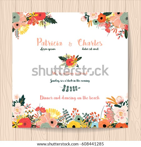 Wedding invitation card flower templates on em vetor stock 608441285 wedding invitation card with flower templates on white background stopboris Choice Image