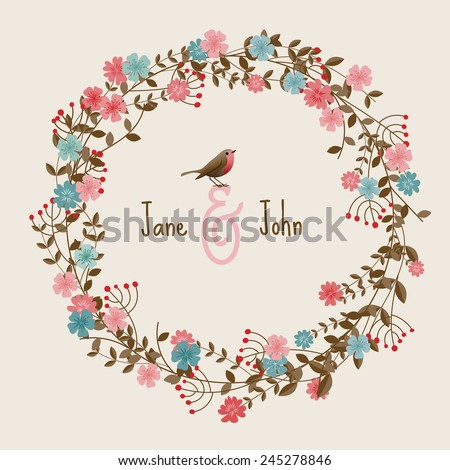 Wedding invitation card with flowers, eps10 vector - stock vector
