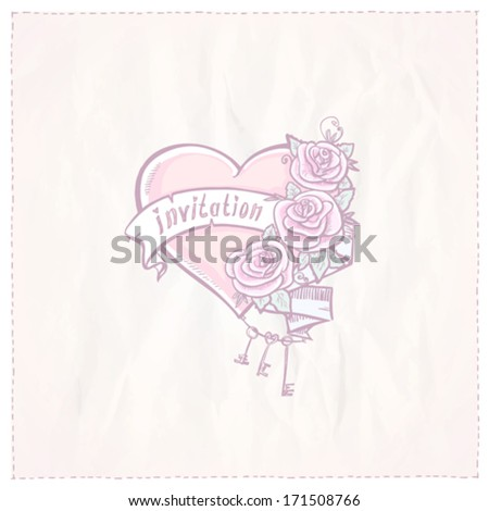Wedding invitation card with heart, roses and ribbon. Eps10
