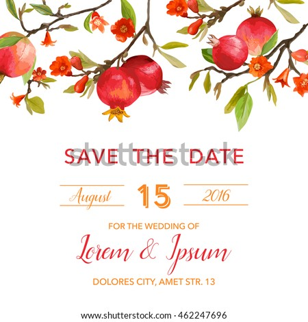 Wedding Invitation Card - with Pomegranates and Flowers Background - Save the Date - in vector