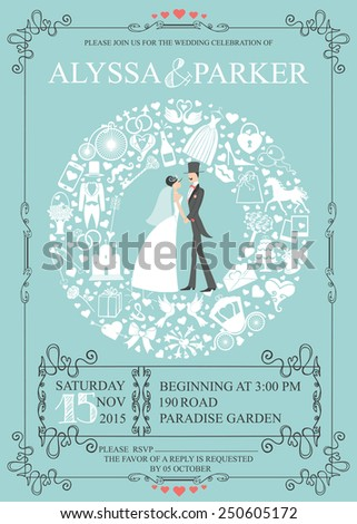 Wedding invitation card with retro bride,groom,icons ,swirling frame.Wreath composition.Set of  wedding flat items,white silhouette.Vintage vector.Holiday infographics,background, card,.