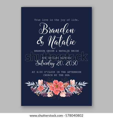 Wedding invitation card tropical poinsettia peony stock vector wedding invitation card with tropical poinsettia peony floral background greeting postcard vector elegance pattern with stopboris Image collections