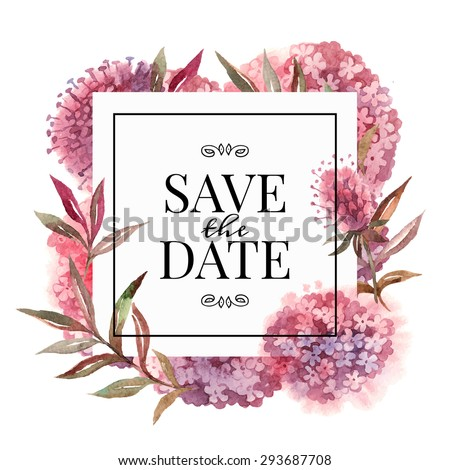 Wedding Invitation Card Watercolor Flowers Vector Stock Vector