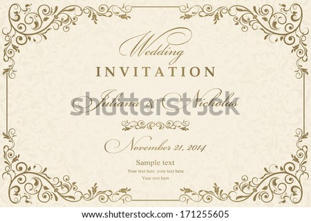 Wedding invitation cards baroque style gold stock vector 171255605 wedding invitation cards baroque style gold and beige vintage pattern retro victorian ornament stopboris Gallery