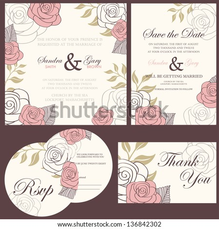 Wedding invitation cards set (thank you card, save the date card, RSVP card) - stock vector