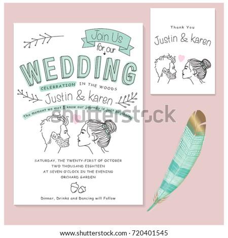 Wedding invitation cards set wedding invitation stock vector wedding invitation cards set wedding invitation with doodle line art elements editable vector illustration stopboris Image collections