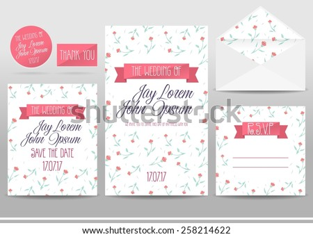 Wedding invitation cards set with flowers, thank you card, save the date card, envelope, RSVP card. - stock vector