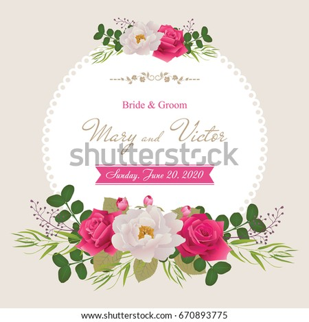 Wedding invitation cards flower beautiful white stock vector hd wedding invitation cards with flower beautiful white peony and red rosesuse for stopboris Images