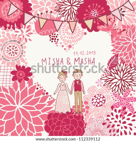 Wedding invitation. Cartoon romantic vector background in pink colors - stock vector
