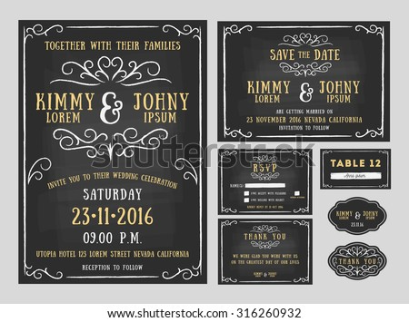 Wedding invitation chalkboard design with flourishes line. include Invitation card, Save the date, RSVP card, Thank you card, Table number, Gift tags, Place cards, Respond card. Vector illustration - stock vector