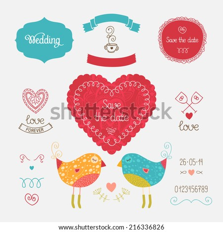 Wedding invitation collection with heart, birds, hand drawn elements. Vector illustration for design with love - stock vector