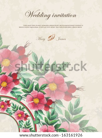 Wedding invitation decorated with  lace hearts and watercolor wild roses - stock vector