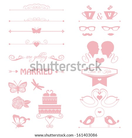 wedding invitation decorative elements, cake, flowers, couple  - stock vector