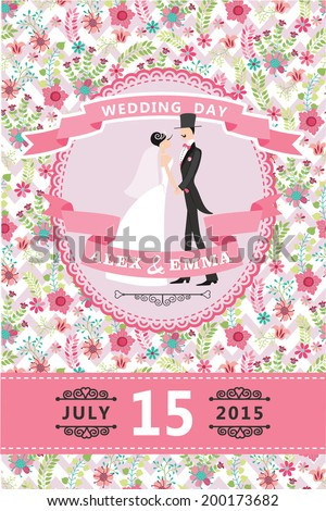 Wedding invitation design template.Cartoon  Bride, groom , floral pattern and ribbons.For Invitation, save the date card.Vector illustration.Retro style, vintage. - stock vector