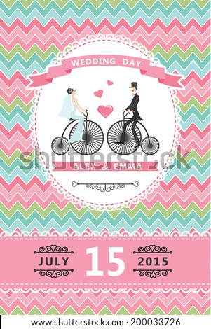 Wedding invitation design template.Cartoon  Bride, groom on retro bicycle,geometric pattern and ribbons.For Invitation, save the date card.Vector illustration.Retro style, vintage. - stock vector