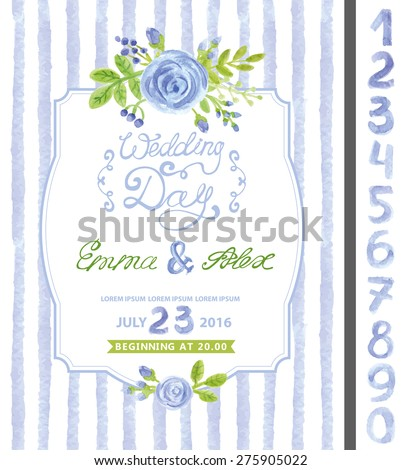 Wedding invitation design template.Watercolor blue flowers,bud,green branches,  bouquet,strips seamless pattern,numbers .Decorative hand drawing floral decor.Vintage Vector card - stock vector