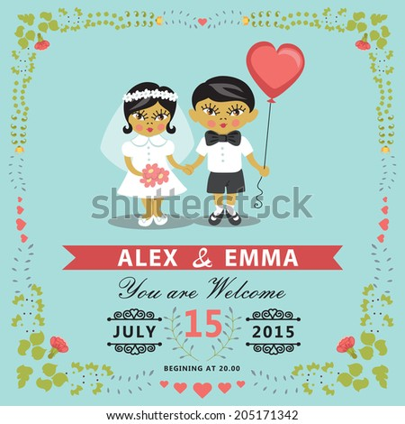 Wedding invitation design template with asian baby couple.Cartoon baby Bride, groom ,floral frame and ribbons.For Invitation, save the date card.Vector illustration.Retro style, vintage.