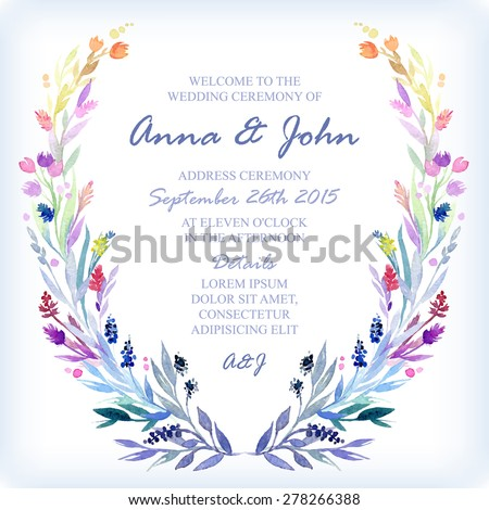 Wedding invitation design template watercolor floral stock vector wedding invitation design template with watercolor floral frame vector background for special occasions life stopboris Images